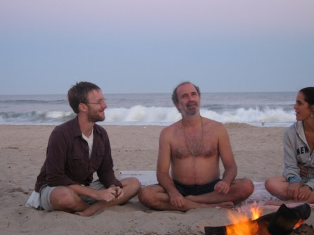 post-swim satsang on the beach, Hamptons 2006