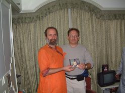 Presenting guruji's CD to Ricky