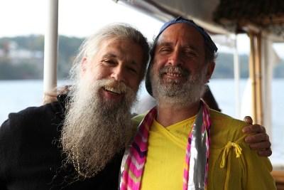 Shyamdas and friend/Sanskrit reading buddy Atma Chaitanya aka Masta Ram aka Ira Schepetin, aboard a bhajan boat