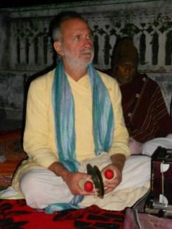 Shyamdas plays jhanjh cymbals at his birthday party in Nathdvara