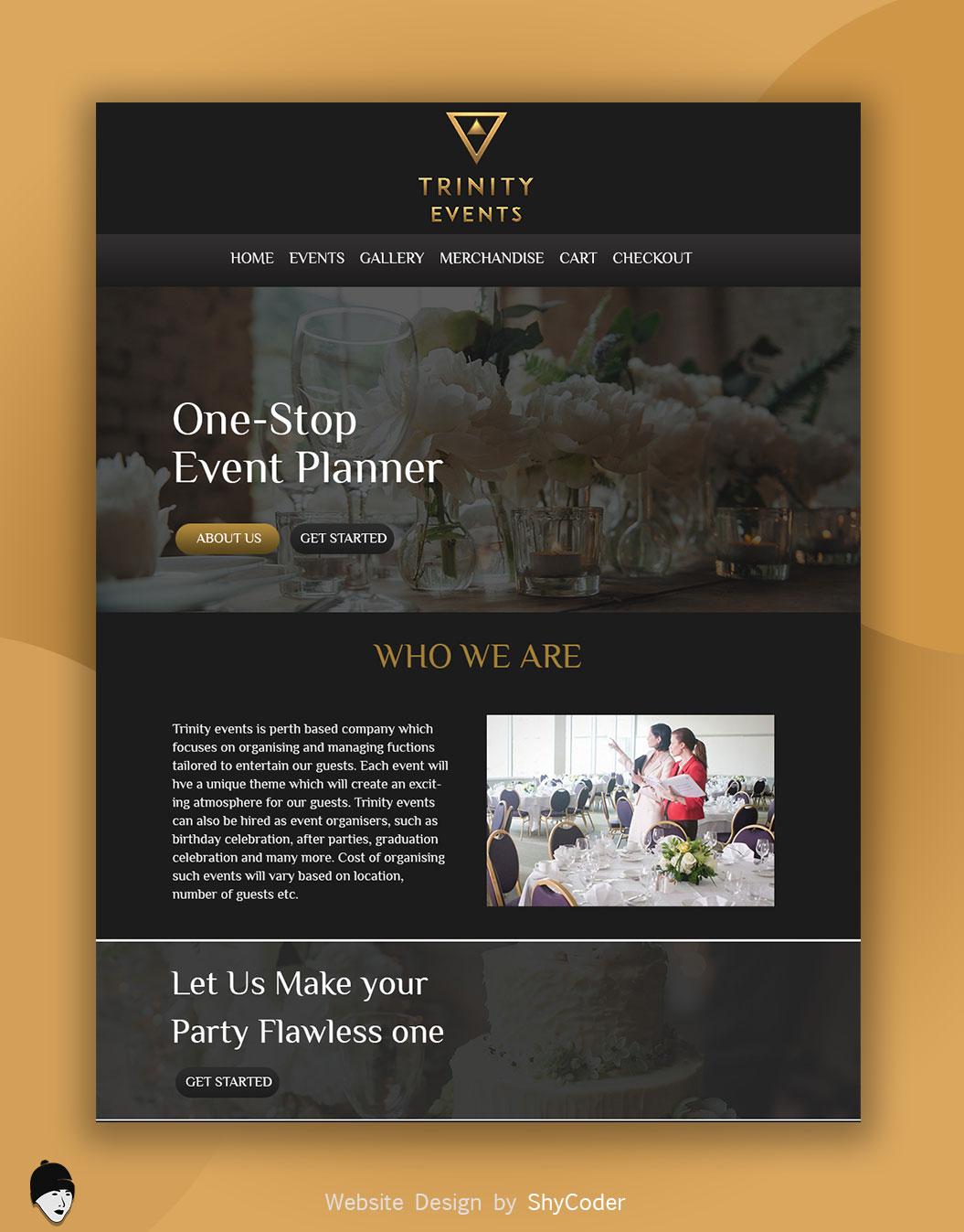 Trinity Events Website Design