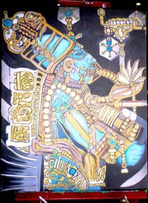 Blue Mayan Astronaut