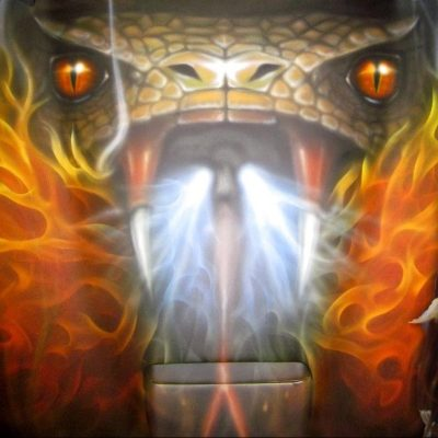 """Video: Airbrushed """"Fire Breathing Viper"""" on Dodge Viper Hood – A Chronology"""