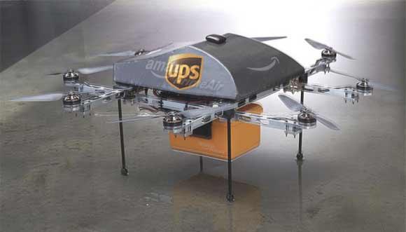 Illustration d'un éventuel drone livreur de colis et courriers UPS/Amazon.