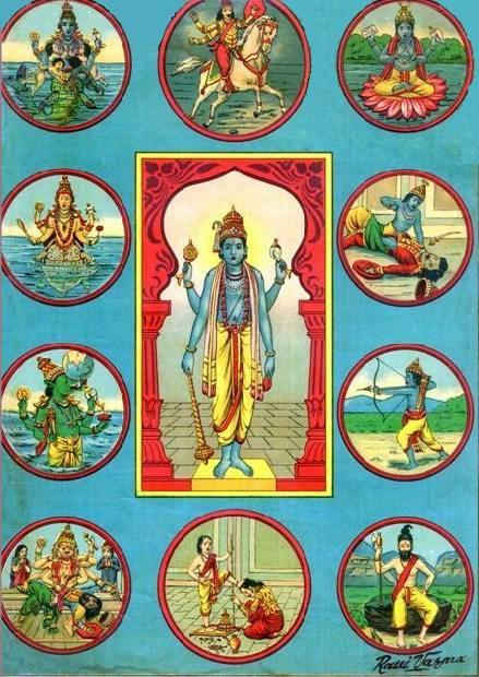 Image showing the ten forms of Vishnu - Dashavatara