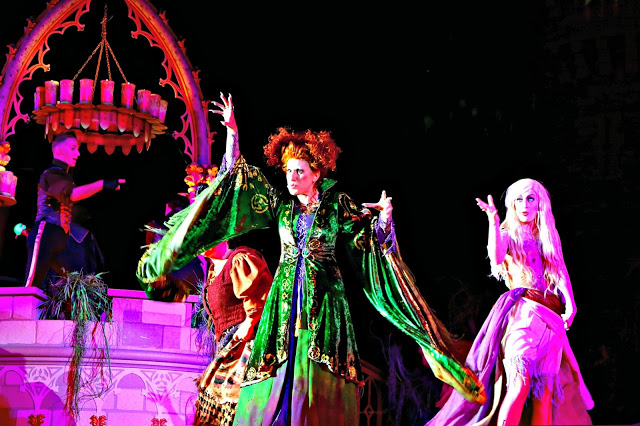 The witches during the Hocus Pocus show during Mickey's Not so Scary Halloween Party