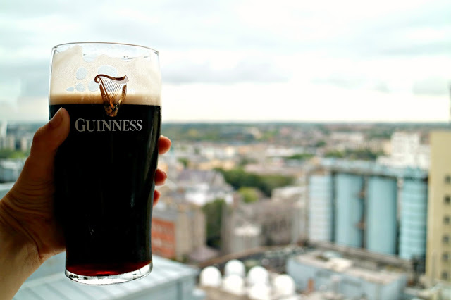A pint of Guinness overlooking the city when spending 72 Hours in Dublin: