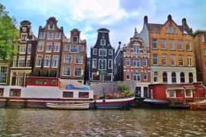 Houses in Amsterdam from the canal