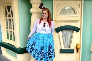 woman in front of a door in toontown, Disneyland