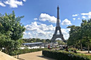 View of the eiffel tower from the gardens on the eiffel tower tour