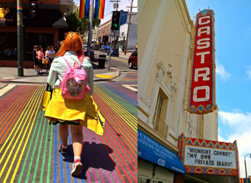 collage of two images, woman walking across the a rainbow crosswalk and the castro theatre signn