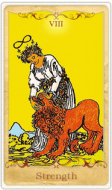 The Strength Tarot Card basato su Rider-Waite