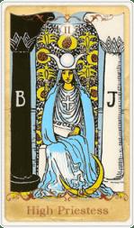 La carta dei tarocchi di alta sacerdotessa basata su Rider-Waite