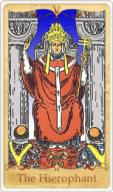 La carta dei tarocchi di Ierofante basata su Rider-Waite
