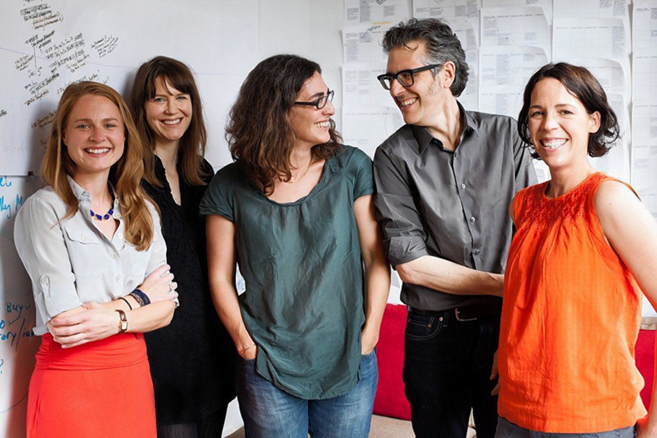 From left, Dana Chivvis, Emily Condon, Sarah Koenig, Ira Glass and Julie Snyder of 'Serial.' The heart of 'Serial' is the narrator, Ms. Koenig.