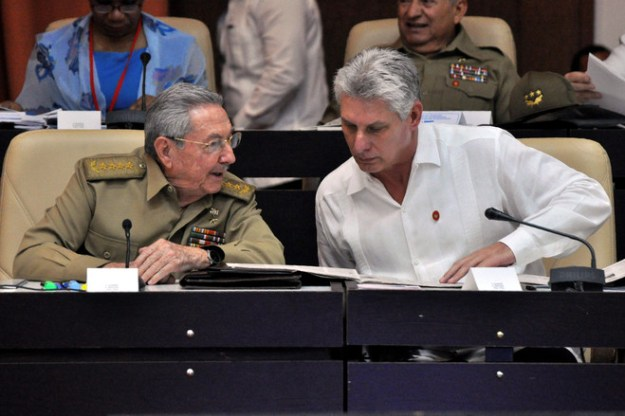Cuban President Raúl Castro, left, and First Vice President Miguel Díaz-Canel, his likely successor, talking in July at the National Assembly.