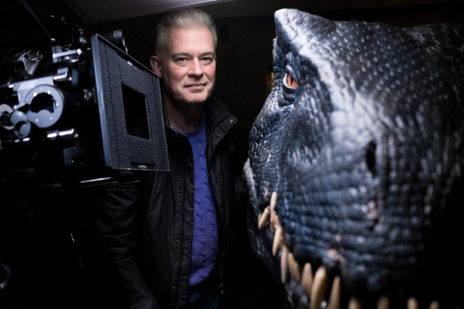 Neal Scanlan with the Indoraptor, one of the dinosaurs introduced in 'Jurassic World: Fallen Kingdom.'