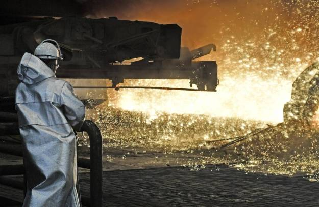 A steel worker at a Thyssenkrupp steel factory in Duisburg, Germany.