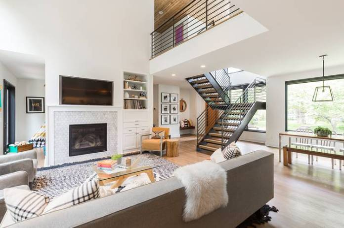 The open-plan living room in Ted and Nicole Abramson's 3,100-square-foot property in Minneapolis.