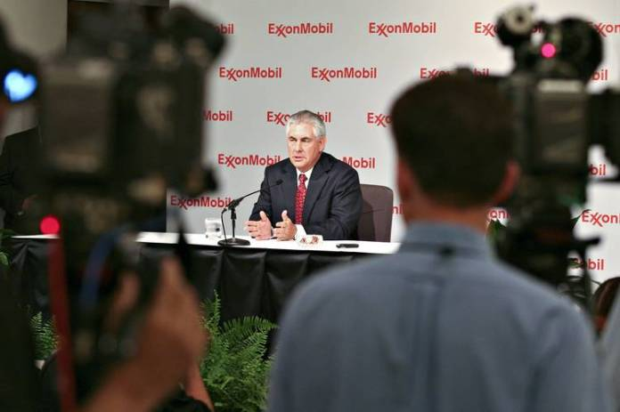 Rex Tillerson at an Exxon news conference in May 2009.