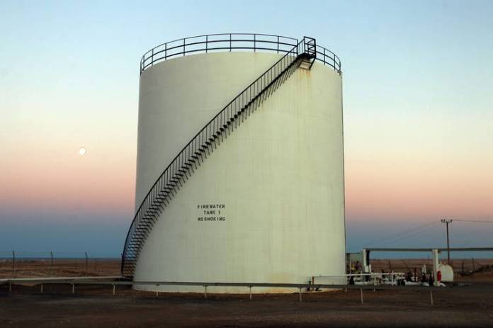 An oil storage tank at the oil port al-Sidra in eastern Libya, the country's production heartland.