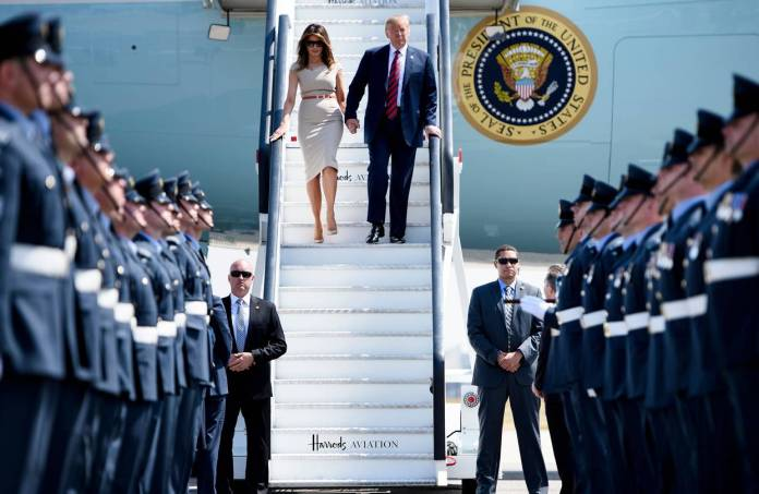 President Donald Trump and first lady Melania Trump arrived in the U.K. on Thursday.