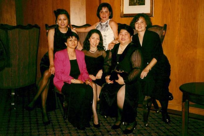 The women marked 20 years since their graduation from the St. Paul College of Nursing at a celebration in 1996 in Los Angeles. Five of them posed here, clockwise from left, Nora Levid (in pink jacket), Peachy Hain, Gertrudes Tan (in white), a friend, Connie Arostegui and Joyette Jagolino.
