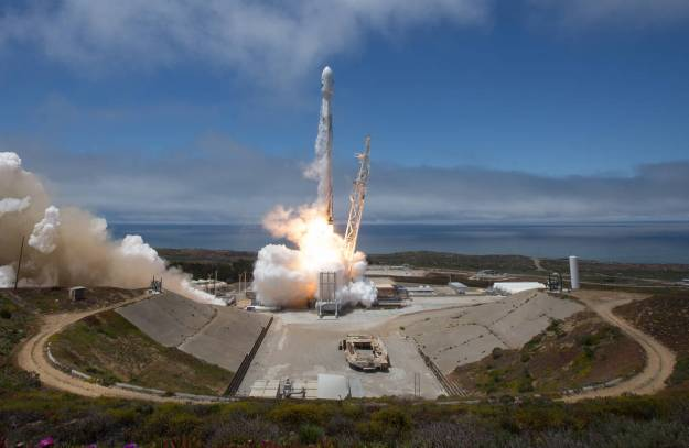 The SpaceX Falcon 9 rocket launching from Vandenberg Air Force Base in Vandenberg, Calif., in May.