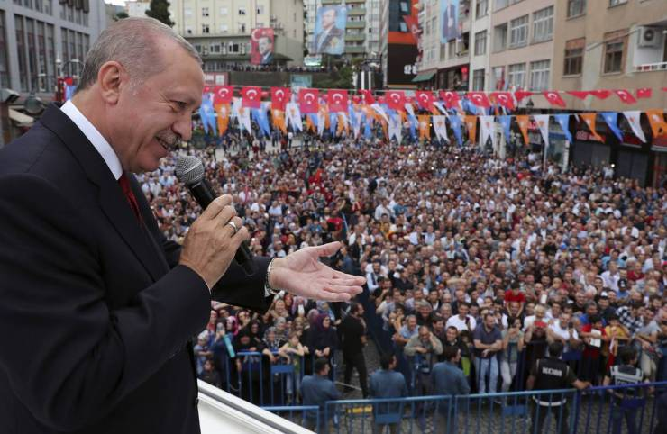 Turkey's President Recep Tayyip Erdogan addresses his supporters in his Black Sea hometown, Rize, on Saturday.