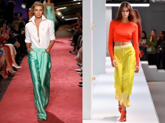 Bright colors lit up the runways in designs by labels Brandon Maxwell, left, and Sies Marjan, on Sept. 9 at New York Fashion Week.