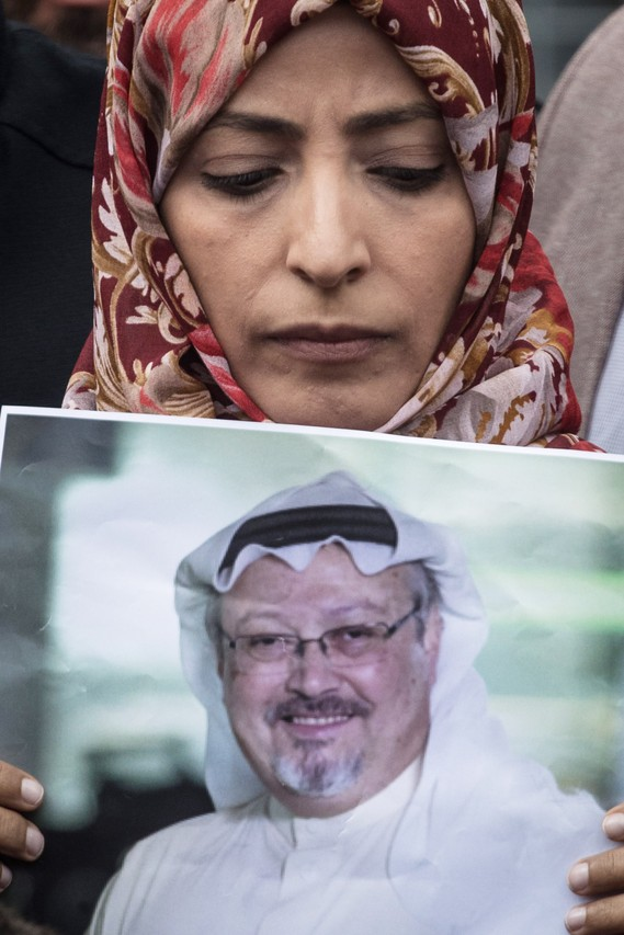 Nobel Prize winner Tawakkul Karman holds a poster of Jamal Khashoggi during a protest outside Saudi Arabia's consulate in Istanbul on Oct. 8.