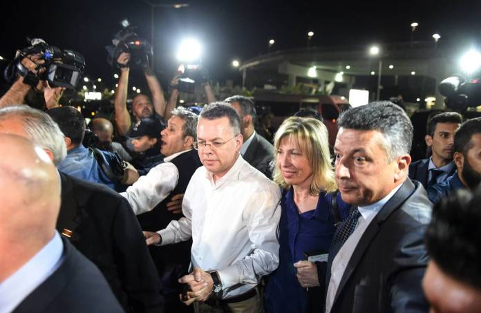 U.S. pastor Andrew Craig Brunson arrives at Adnan Menderes airport in Izmir, Turkey, on Saturday after being freed from two-year detention. f