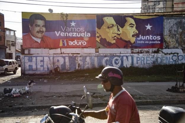Images of Nicolás Maduro and the late Hugo Chávez in Puerto la Cruz, Venezuela.