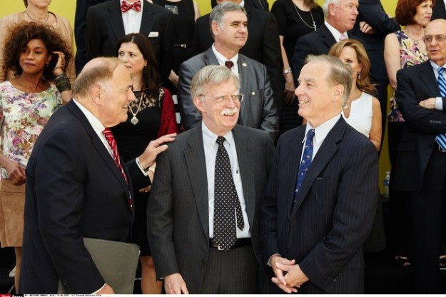 John Bolton, center, at a conference of Iranian dissidents in Villepinte, France, in 2015.