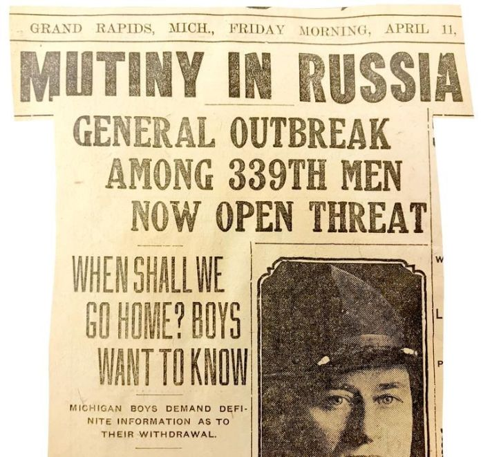 The Grand Rapids Herald reported on the Company I mutiny.