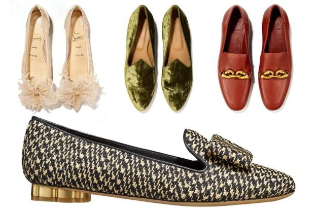 Clockwise from top left: THE FANCIFUL FANTASY Lace Flats, $945, Christian Louboutin, 702-818-1650; THE LUXURIOUS LOAFABOUT Velvet Venetian Slippers, $340, lemondeberyl.com; THE VINTAGE-Y VIXEN Tory Burch Loafers, $328, shopbop.com; THE ORNAMENTAL GEM Raffia Flats, $930, Salvatore Ferragamo, 212-759-3822