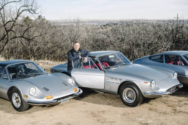 Classic Ferraris in David Donner's family collection, in Colorado Springs, Colo. From left: a 1973 Dino 246 GTS, a 1967 330 GTC and a 1971 365 GTB/4 Daytona.