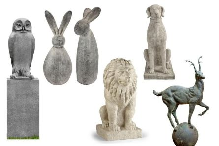 From left: The cast-stone concrete owl, 27 inches tall, can be finished in one of 13 patinas. Dr. Hoo, $730, garden-fountains.com; Resin rabbits Stan and Oliver stand at 28 and 25½ inches. Big Burly Bunnies Statue Set, $125, preorder at design-toscano.com; For those who think a prone cat projects indolence, this stone lion sits nearly 27 inches tall. Lion Statue, $499, frontgate.com; Customer photos of this Stone Hunting Dog, 28½ inches tall, often feature a neck scarf. $199, ballard-designs.com; Over 37 inches tall, these cast-iron bucks are meant to top pillars or posts. Alpine Stag Finial, $998 for pair, shopterrain.com
