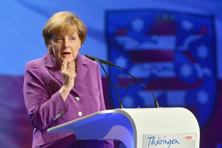 German Chancellor Angela Merkel delivered a speech at the general meeting of the Thuringian CDU in Jena, Germany, on Saturday.