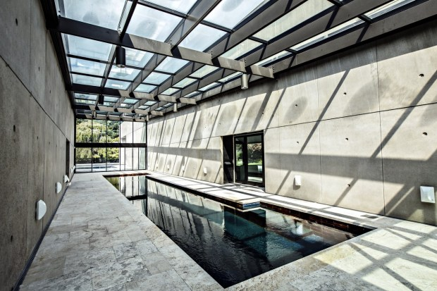 This is the 60-foot-long indoor pool, which leads to an outdoor pool area.