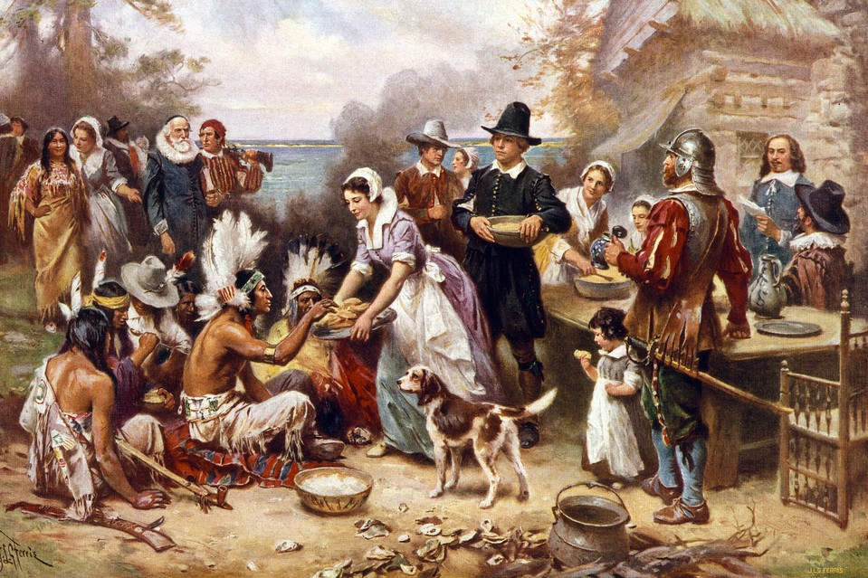 Colonial character was driven by a creative tension between lofty ideals and mundane desires. Illustration of 'The First Thanksgiving 1621,' after a painting by J.L.G. Ferris.