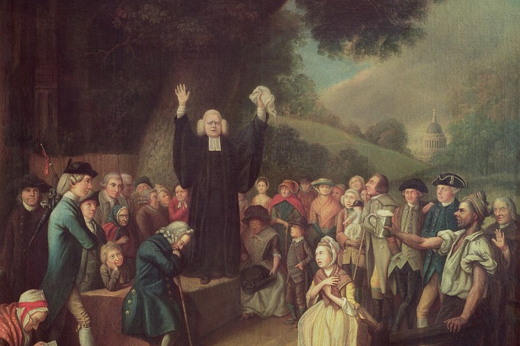 A painting of George Whitefield preaching