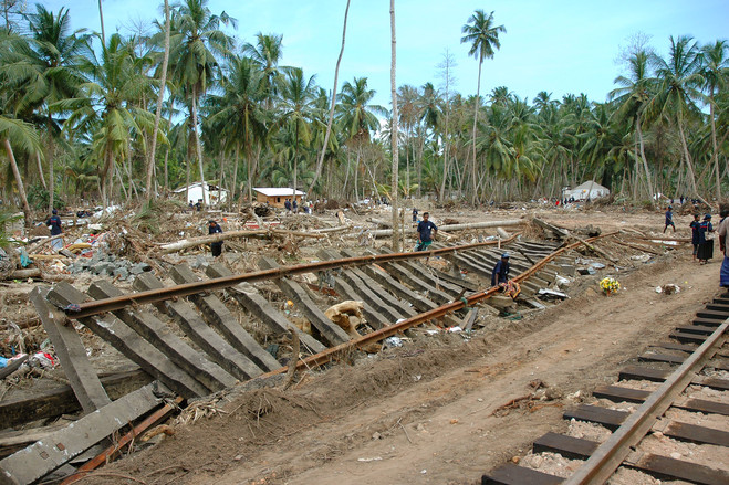 Peraliya early 2005<br>  Peraliya was among the hardest-hit towns on Sri Lanka's southern coastline. Of about 1,500 residents, almost one in seven was killed. It was here that the giant waves derailed a packed passenger train and ripped some tracks from the ground.