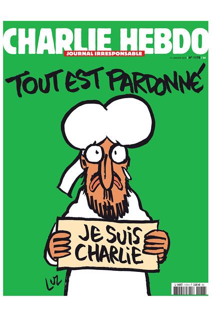 """Edición Los próximos """"supervivientes"""" de Charlie Hebdo tendrá una caricatura en la portada del Profeta Muhammad sosteniendo un """"Je suis Charlie"""" signo bajo el título 'Todo está perdonado.'"""