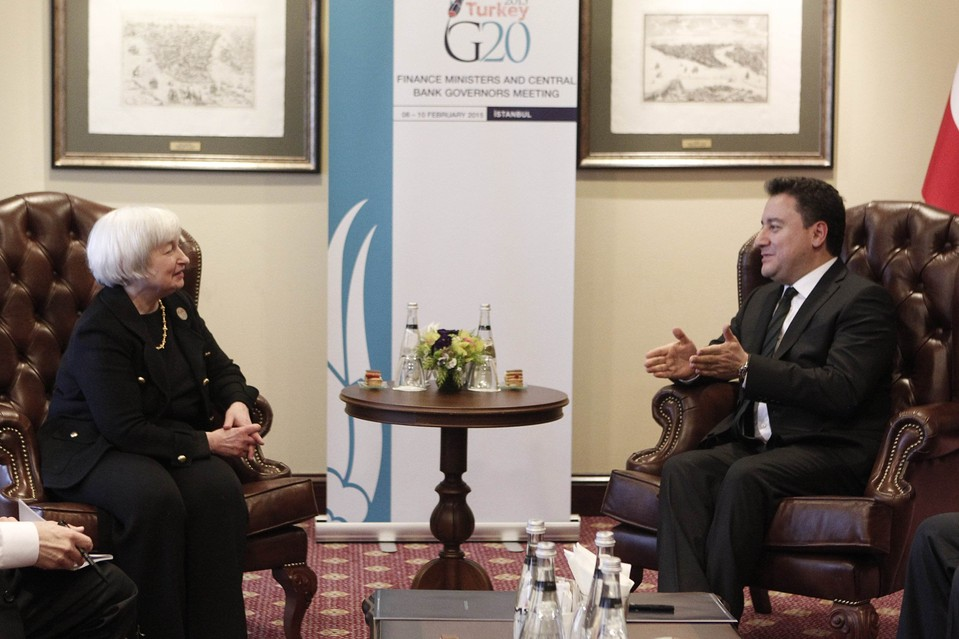 Turkish Deputy Prime Minister Ali Babacan, right, met with U.S. Federal Reserve Board Chairwoman Janet Yellen on Monday in Istanbul, where Group of 20 financial officials are gathering amid worries about Greece's financial crisis.