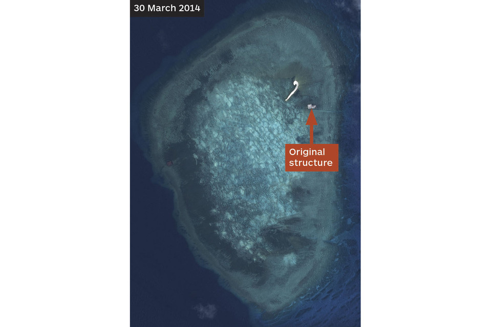 A satellite image of Gaven Reefs shows a Chinese-built structure nearly a year ago.