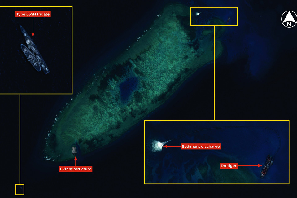 Satellite images show a frigate and other structures at Fiery Cross Reef in August.