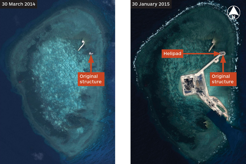 Satellite images show a dramatic expansion of Chinese outposts in the South China Sea. Here, a structure at Gaven Reefs is seen at left in March last year. At right, the same area is seen in January, with an artificial island linked by a causeway to the original outpost.