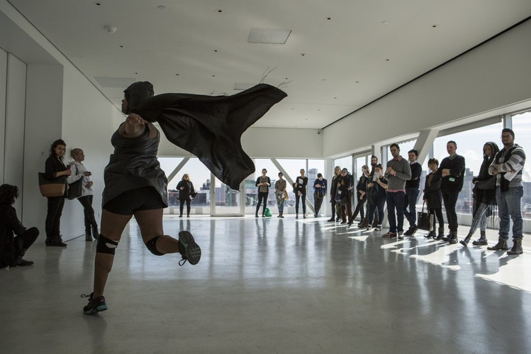Artist Niv Acosta performs an excerpt of 'DISCOTROPIC' in the Sky Room at the New Museum.