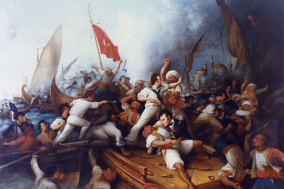 A painting of U.S. Navy Lt. Stephen Decatur battling Muslim sailors, Tripoli, August 1804.